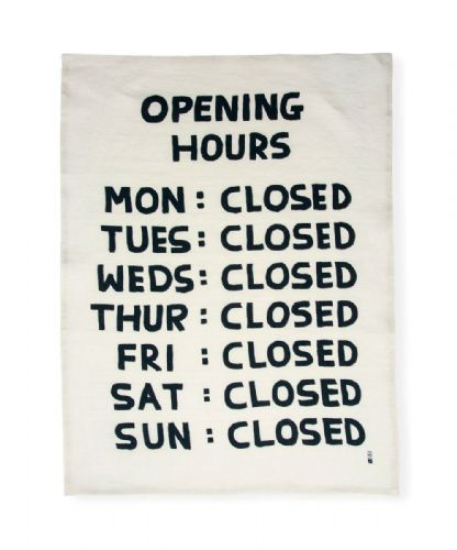 Opening Hours Tea Towel.